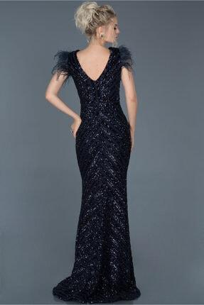 Abiyefon Kadın Lacivert Uzun Pul İşlemeli Otrişli Abiye Elbise Abu881 1