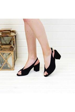 PABUÇ BUTİK Kadın Siyah Süet Topuklu Ayakkabı 1