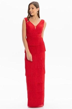 Abiye Sarayı Kadın Kırmızı Bel ve Göğüs Detaylı Kat Kat Uzun Abiye 0