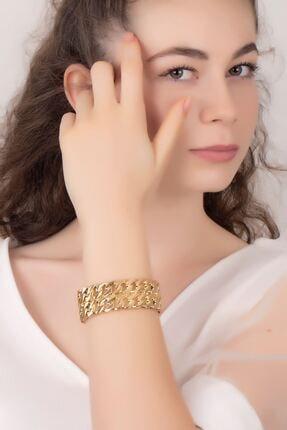 takızamanı Kadın Altın Renk Zincir Desenli Gold Renk Kelepçe Bileklik 3