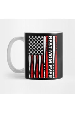 TatFast Best Mom Ever Baseball American Flag Kupa 0
