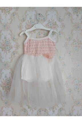 Kız Çocuk Tül Detaylı Elbise Beyaz & Pembe Detaylı KZÇÇKBYZ98465210