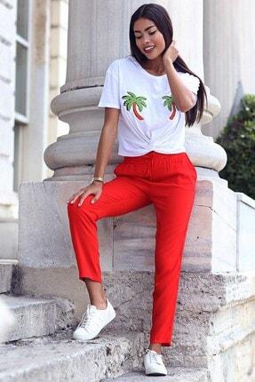 Womenice Kadın Kırmızı Beli Bağcıklı Cepli Pantolon 0