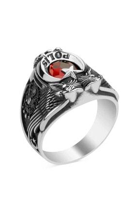 Anı Yüzük Kırmızı Taşlı Çift Kartal Baş Osmanlı Armalı Pençeli Polis Yüzüğü 2