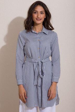 Kadın Modası Kadın Indigo Düğmeli Kuşaklı Çizgili Tunik 0