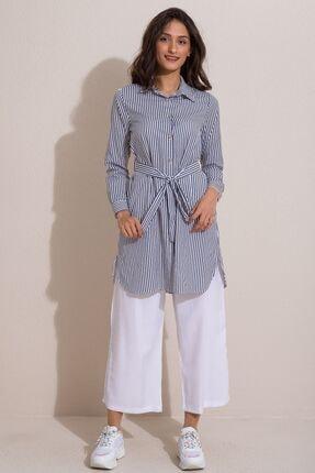 Kadın Modası Kadın Indigo Düğmeli Kuşaklı Çizgili Tunik 1