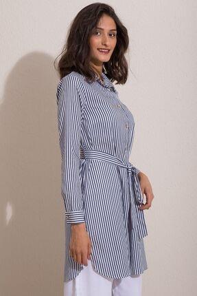 Kadın Modası Kadın Indigo Düğmeli Kuşaklı Çizgili Tunik 2