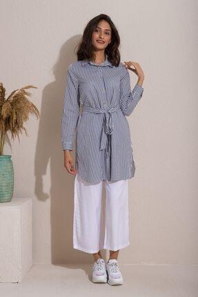 Kadın Modası Kadın Indigo Düğmeli Kuşaklı Çizgili Tunik 3