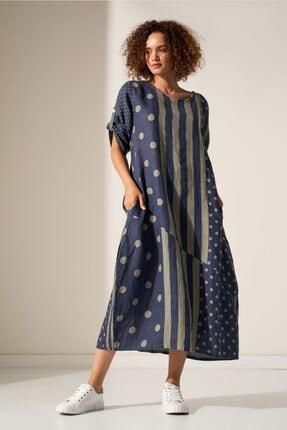 Camena Puantiye Çizgili Keten Elbise 2019070500189 0