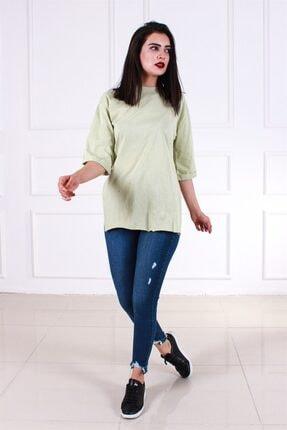 Melanj Kadın Yeşil  Duble Kol T shirt 0