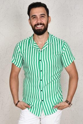 DeepSea Erkek Yeşil Çizgili Kısa Kol Gömlek 2002805 2