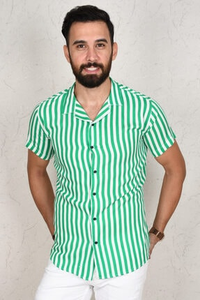 DeepSea Erkek Yeşil Çizgili Kısa Kol Gömlek 2002805 4