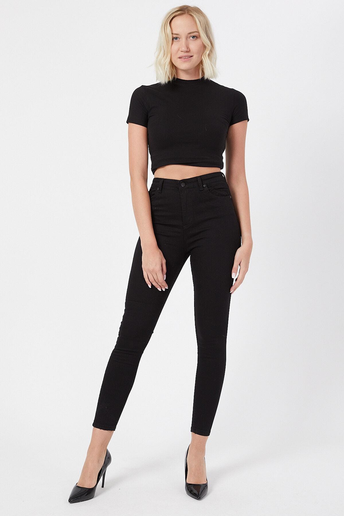 VAV Siyah Kot Pantolon Dar Paça Yüksek Bel - Simsiyah Skinny Jeans Black Jean Solmayan Siyah