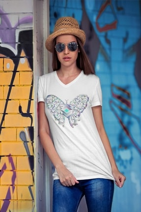 تصویر از Erkek Beyaz V Yaka Kadın T-shirt
