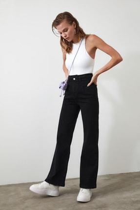 TRENDYOLMİLLA Siyah Dikiş Detaylı Süper Yüksek Bel Wide Leg Jeans TWOSS20JE0015 3