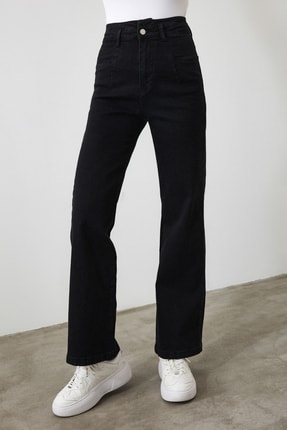 TRENDYOLMİLLA Siyah Dikiş Detaylı Süper Yüksek Bel Wide Leg Jeans TWOSS20JE0015 4