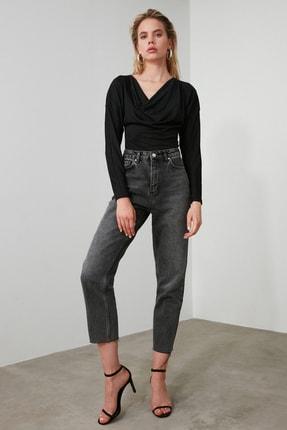TRENDYOLMİLLA Antrasit Yüksek Bel Straight Jeans TWOAW21JE0079 3