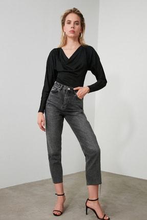 TRENDYOLMİLLA Antrasit Yüksek Bel Straight Jeans TWOAW21JE0079 4