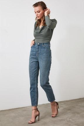 TRENDYOLMİLLA Mavi Yüksek Bel Mom Jeans TWOAW21JE0223 1
