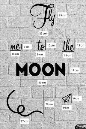 NCS Ahşap Sanat Atölyesi Fly Me To The Moon Duvar Yazısı Ahşap Tablo 1