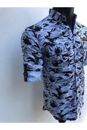JİYAN Erkek Mavi Kamuflaj Desenli Gömlek 1