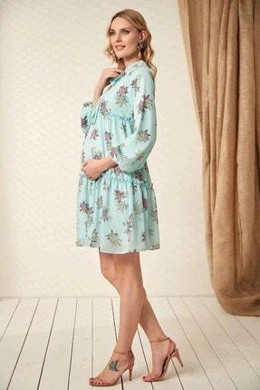 Görsin Hamile Kadın  Mint Hamile Yaka Bağcık Elbise 2
