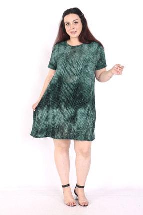 exxeland Kadın Yeşil Batik Desenli Elbise 1