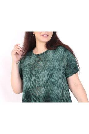 exxeland Kadın Yeşil Batik Desenli Elbise 2