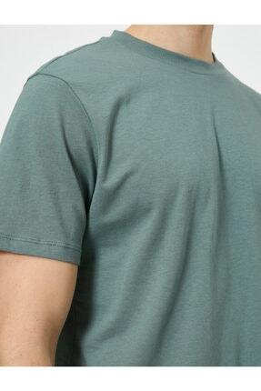 Koton Erkek Yeşil Yüksek Yaka Rahat Kesim Basic Tisört 4