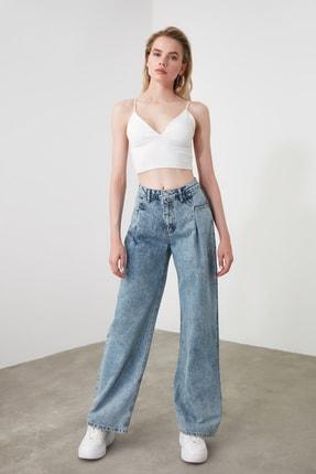 TRENDYOLMİLLA Mavi Cep Detaylı Yüksek Bel Wide Leg Jeans TWOSS20JE0143 0