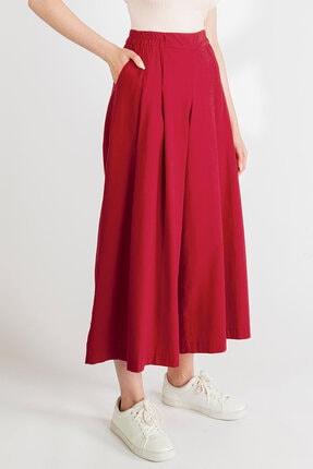 Streetbox Kadın Bordo Pileli Pantolon 2