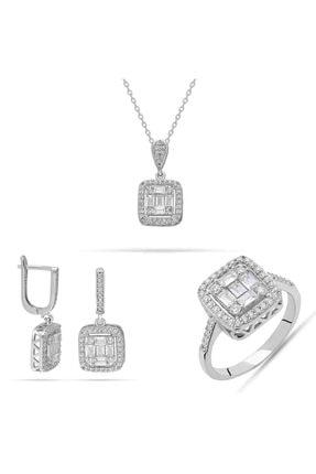 Batu Gümüş Baget Kare Taş Zirkon Taşlı 925 Ayar Kadın Gümüş Set 0