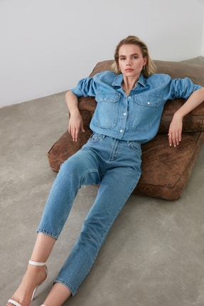 TRENDYOLMİLLA Mavi Yüksek Bel Mom Jeans TWOAW20JE0129 0