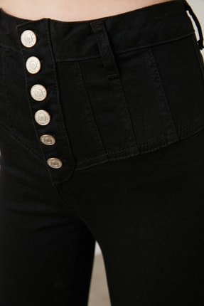 TRENDYOLMİLLA Siyah Dikiş Detaylı Düğmeli Süper Yüksek Bel Skinny Jeans TWOAW20JE0342 4