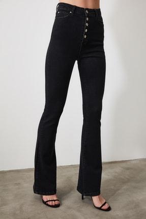 TRENDYOLMİLLA Siyah Önden Düğmeli Yüksek Bel Flare Jeans TWOSS20JE0111 2