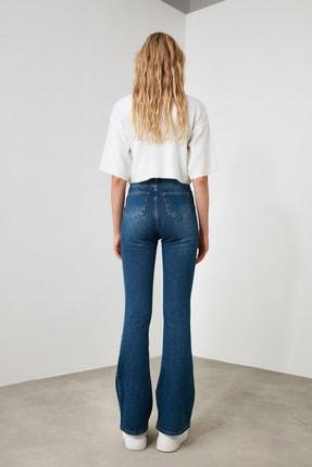 TRENDYOLMİLLA Mavi Önden Düğmeli Yüksek Bel Flare Jeans TWOSS20JE0111 4