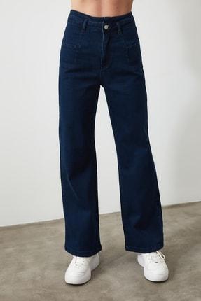 TRENDYOLMİLLA Lacivert Dikiş Detaylı Süper Yüksek Bel  Wide Leg Jeans TWOSS20JE0015 2