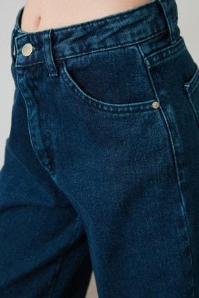 TRENDYOLMİLLA Lacivert Paçası Püsküllü Yüksek Bel Wide Leg Jeans TWOSS20JE0185 3