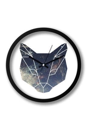 Presstish Space Cat Tasarım Baskılı Duvar Saati 0