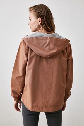 TRENDYOLMİLLA Camel Kapüşonlu Fermuar Kapamalı  Mont TWOSS20MO0027 3