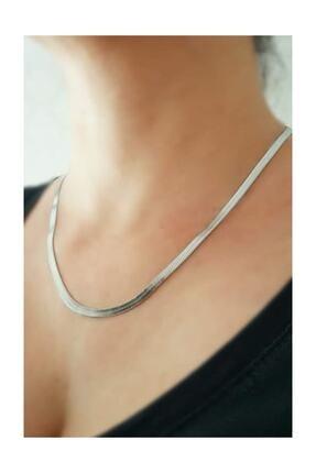 X-Lady Accessories Gümüş Rengi Çelik Italyan Zincir Kolye 0