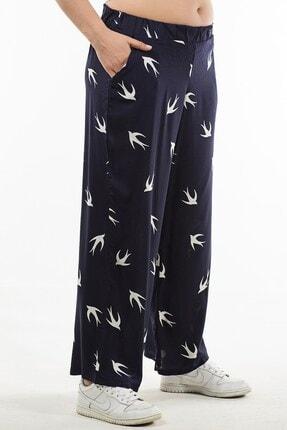Womenice Kadın Lacivert Kuş Desenli Pantolon 2