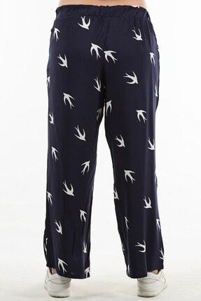 Womenice Kadın Lacivert Kuş Desenli Pantolon 3