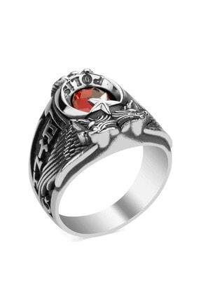 Anı Yüzük Erkek Kırmızı Çift Kartal Başlı Göktürkçe Armalı Yüzük 925 Ayar 2