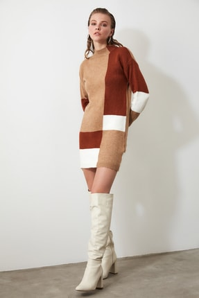 TRENDYOLMİLLA Kahverengi Colorblock Triko Kazak Elbise TWOAW20FV0063 4