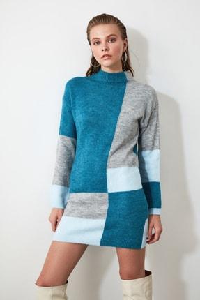 TRENDYOLMİLLA Mavi Colorblock Triko Kazak Elbise TWOAW20FV0063 0