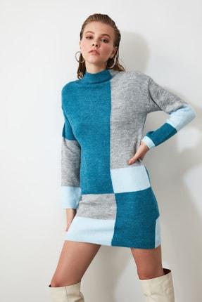 TRENDYOLMİLLA Mavi Colorblock Triko Kazak Elbise TWOAW20FV0063 3