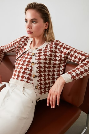TRENDYOLMİLLA Kahverengi Kazayağı Hırka Bluz Triko Takım TWOAW21HI0163 0