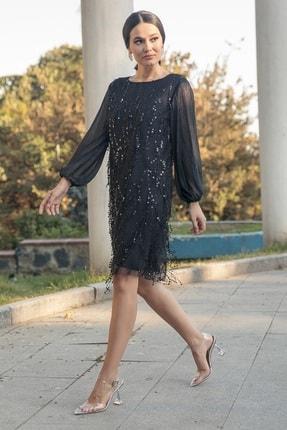 Gökmen Kotan Kadın Siyah Payet İşlemeli Abiye Elbise 0