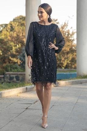 Gökmen Kotan Kadın Siyah Payet İşlemeli Abiye Elbise 1